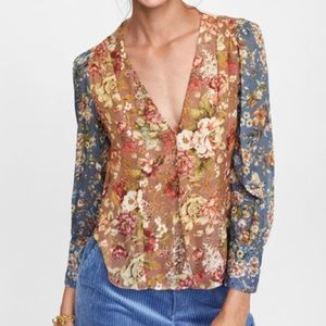 Zara- NWOT Sheer floral button up blouse, M